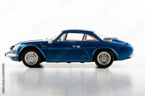 Fridge magnet Blue toy model on a white background