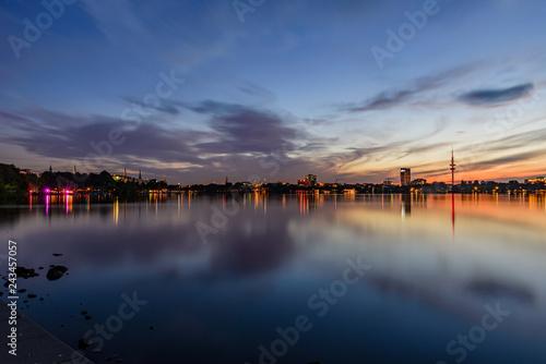 Hamburg sunset at the Alster - 243457057