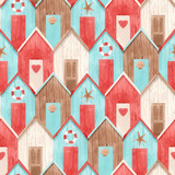 Watercolor house pattern - 243461046