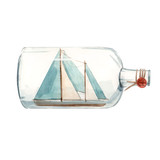 Watercolor ship in bottle illustration - 243461261