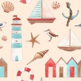Watercolor marine pattern - 243461404