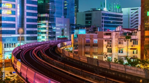 Timelapse traffic of sky train monorail at night