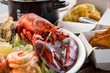 Delicious seafood, straight from the fisherman boat to the restaurant table - 243465466