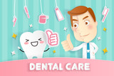 cartoon tooth and doctor - 243465414