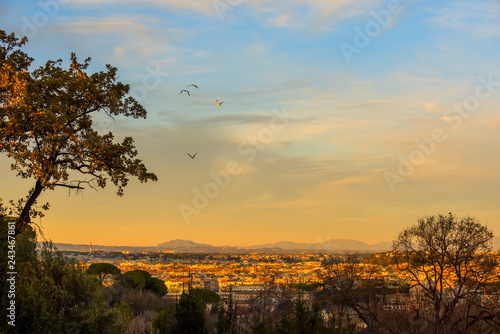 View of the city at sunset. On the horizon tops of mountains. Rome.
