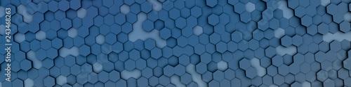 blue hexagon background - 243468263