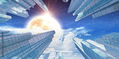 obraz lub plakat City in clouds 3d rendering