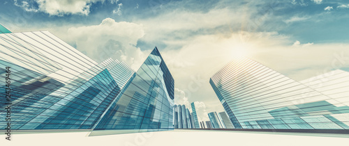City in clouds 3d rendering - 243469464