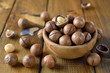 Macadamia nuts in a wooden bowl