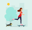 Happy young woman rides on a skateboard and dog. Vector flat style  illustration
