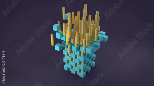 Abstract 3d rendering of chaotic particles. Colored cubes and tube in empty space. Black background - 243473444