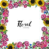 Hand drawn Flower Border - 243478627