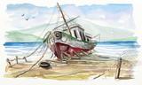 Boat Watercolor - 243486686