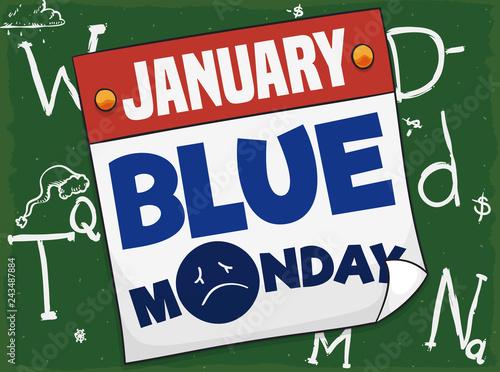 Blackboard with  Variables for Blue Monday Equation and Loose-leaf Calendar, Vector Illustration