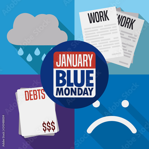 Bad Weather, Labor Stress, Debts and Sadness for Blue Monday, Vector Illustration