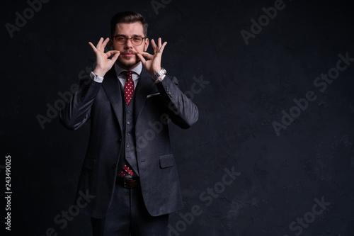 Elegant young handsome man. Studio fashion portrait - 243490025