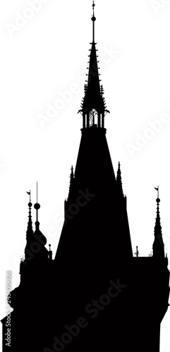 black tower silhouette  on white