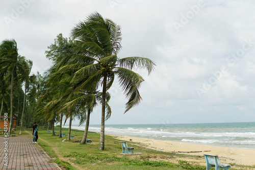 Beach and Seaview with happy couple standing on a beach side in background. Two lovers in vacation in an idyllic nature scene sharing positive feelings and emotions.- Image