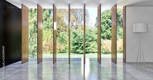 Wall mural large luxury modern bright interiors room illustration 3D rendering