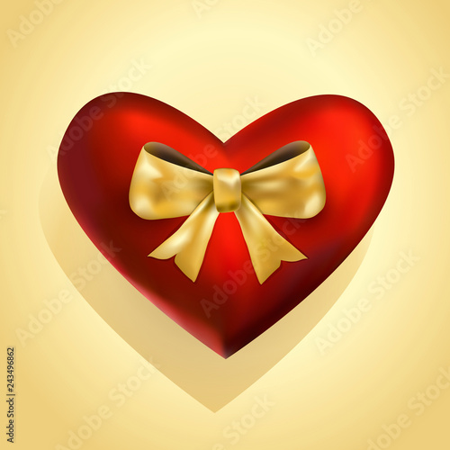 vector illustration valentines card dark red silky beautiful heart with golden bowed ribbon on yellow background realistic image. Gift