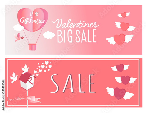 Sale header or banner set with discount offer for Happy Valentine's Day celebration,Vector illustration. Holiday bright greeting cards, love creative concept, gift voucher, invitation