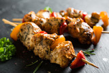 Juicy kebab of chicken and bell peppers - 243498244