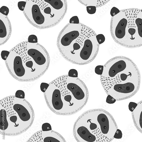 Cute cartoon seamless pattern with big black and white panda heads on white background. Funny hand drawn asian bear texture for kids design, wallpaper, textile, wrapping paper