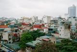 Hanoi city old town aerial skyline. Vietnam cityscape at rainy day