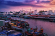 Phu Quoc island in Vietnam at sunset. Fishing boats in Duong Dong city
