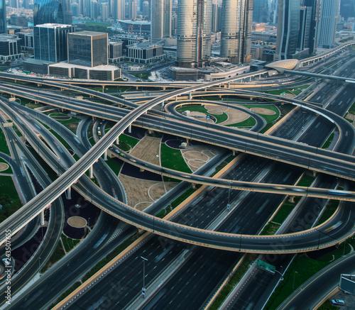 mata magnetyczna Detail of highway crossroad in Dubai.