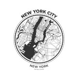 T-shirt map badge of New York City, New York