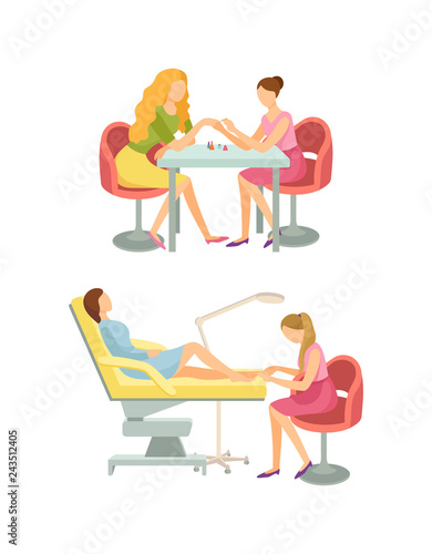 Spa Salon Manicure and Pedicure Procedures Vector