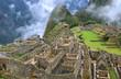The Mysterious Incan Citadel of Machu Picchu in the mist, Cusco Region, Urubamba Province, Peru