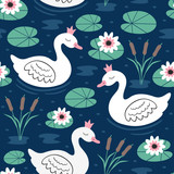 seamless pattern with white princess swan on lake  - vector illustration, eps