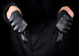 chef in black latex gloves shows gesture not like - 243519803