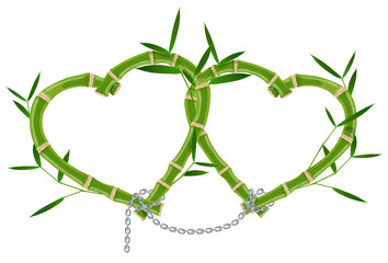 double bamboo frame linked by a chain © ayax