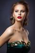 Fashion Model Beauty Makeup, Glamour Woman Portrait, Beautiful Jewelry Hairstyle and Makeup