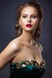 Fashion Model Beauty Makeup, Glamour Woman Portrait, Beautiful Jewelry Hairstyle and Makeup - 243525603