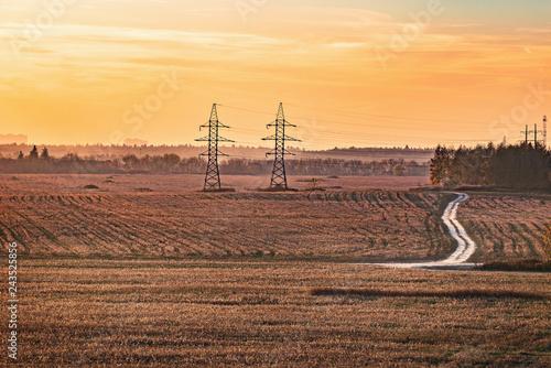 Leinwanddruck Bild Autumn view of the field at sunset time.