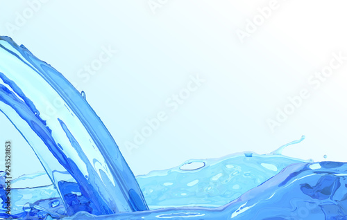 Realistic water stream. Clean wave water surface background. Blue liquid flow and splash. Vector illustration element
