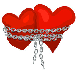 Two hearts linked by a chain © ayax