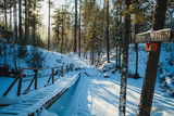 a pedestrian wooden bridge in the woods in winter before the sunset with an inscription in russian