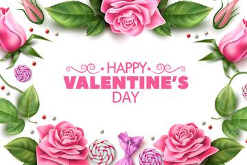 Vector valentine day rose peony tulip flower