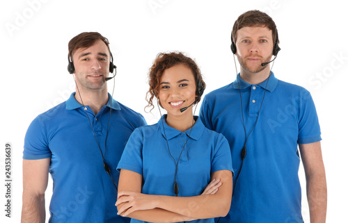 Team of technical support with headsets isolated on white