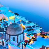 Thira town and Aegean sea at twilight