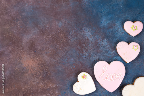 Valentines Day, cookies heart with a place for inscription on stone background, copy space