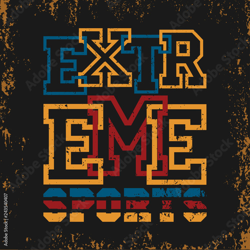 extreme sports,T-shirt , design fashion typography