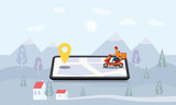 Concept Online delivery service, tracking online tracker, landing page. Minimalistic landscape background. Tiny people moped with a delivery man, smartphone, isometric, package delivery, stopwatch