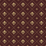 Seamless pattern. Modern geometric ornament with royal lilies. Classic vintage brown and golden background - 243542644