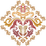 Oriental colored pattern with arabesques and floral elements. Traditional classic ornament. Vintage pattern with arabesques - 243543081